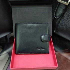 Кошелек мужской кожаный черный квадратный на кнопке (DMWB110100IH)