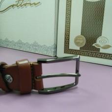 Коричневый кожаный ремень 3,5 см пряжка темная прямоугольная (DM4128KR)