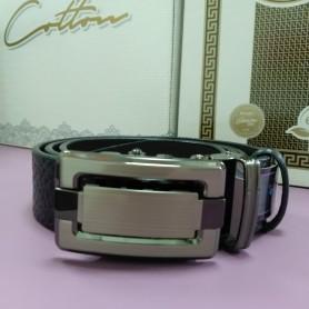 Черный кожаный ремень 4 см классика, пряжка автомат (DM4138KR)