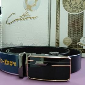Черный кожаный ремень 3,5 см, пряжка автомат (DM4139KR)