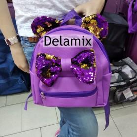 Рюкзак  мини детский с пайетками для принцес сиреневый с бантом и пайетками (DM022213KZ)