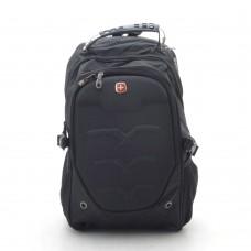 Рюкзак большой черный спортивный повседневный школьный с волнами (DM8816CL)