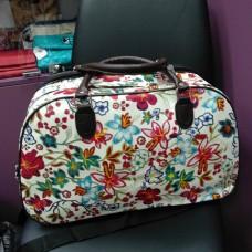 Дорожная сумка белая в цветочках 22 л (DM00222701CL)