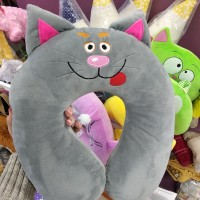 Дорожная подушка на шею, под голову Серый Котик для путешествий (DM220014KZ)