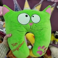 Дорожная подушка зеленая салатовая Кот путешественник (DM22001412KZ)