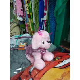 Мягкая игрушка-сумка собачка Пудель с пайетками розовая (DM220022KZ)