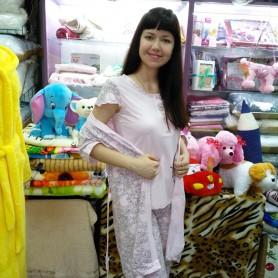Комплект-тройка ночной, домашний - халат, футболка, брюки хлопковый трикотажный розовый женский Турция (DM20021MM)