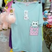 Комплект футболка с бриджами ночной хлопковый трикотажный голубой розовый женский Турция Котик (DM2002332MM)