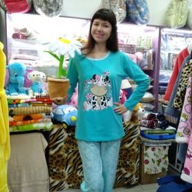 Пижама хлопковая  бирюзовая с брюками женская Турция (DM2005MM)