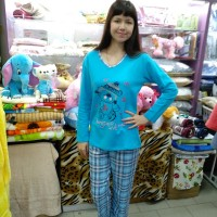 Пижама хлопковая голубая с брюками женская Турция (DM20051MM)