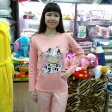 Пижама хлопковая персиковая с брюками женская Турция (DM20061MM)