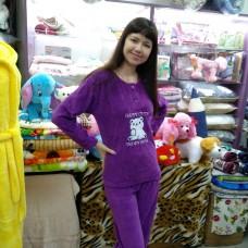 Пижама велюровая фиолетовая с брюками женская - Домашний костюм Турция (DM2007MM)