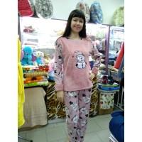 Пижама теплая розовая пудра с брюками женская Турция (DM20071MM)