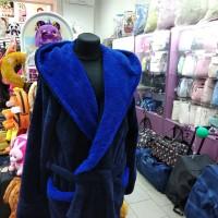 Махровый халат темно-синий мужской Турция (DM2200532IT)