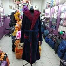 Махровый халат темно-синий с бордовым воротником мужской Турция (DM2200533IT)
