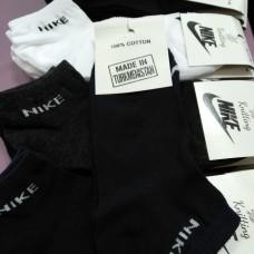 Белые носки, черные носки Nike короткие коттон, сверху сеточка (DM220070NS)