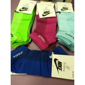 Синие носки, салатовые носки Nike короткие коттон хлопок, сверху сеточка Турция (DM220071NS)