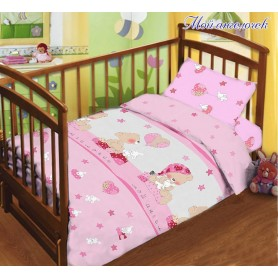 Комплект постельного белья детский в кроватку розовый Мишка (DM11014082TT)
