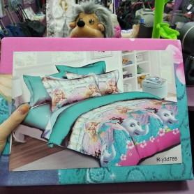 Постельное бельё детское для девочки розовое бирюзовое Принцесса Барби и слон 150*220 хлопок (DM68561KR)