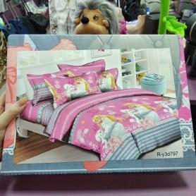 Постельное бельё детское для девочки розовое серое Принцесса Барби с пуделем и кошкой 150*220 хлопок (DM68562KR)