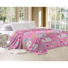 Плед детский розовый для девочки 160х220 см Кошечка сердечки (DMJH-VL016TT)