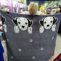 Плед велсофт полуторный пушистый серый собака Долматинец 160 х 220 см (DMJH00222TT)