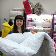 Одеяло двухспальное  лебяжий пух хлопок белое с флизилиновой подкладкой 180*210 см (DM44173KR)