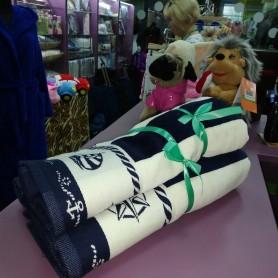 Набор полотенец синего цвета полоска для лица и ванны велюр хлопок Турция (DM5090117DM)