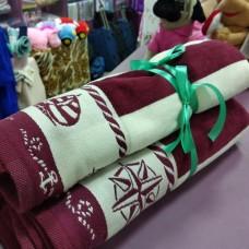Набор  полотенец бордо цвета полоска для лица и ванны велюр хлопок Турция (DM5090118DM)