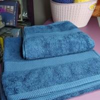 Набор синих турецких махровых полотенец хлопок Косичка (DM50901235DM)