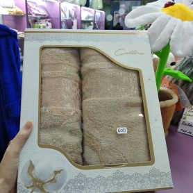 Набор полотенец для лица и тела бежевый, светло-коричневый махровый хлопок Турция (DM50901262DM)