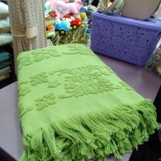 Банное полотенце зеленое хаки хлопок Турция с бахромой  для сауны  (DM5090128DM)