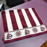 Кухонное полотенце салфетка велюр хлопок бордовое полоска Якорь 30 х 50 см (DM509047DM)
