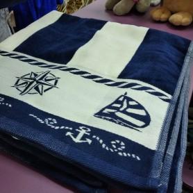 Банное полотенце велюр хлопок синее полоска мужское Якорь (DM509051DM)