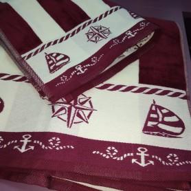 Банное полотенце велюр хлопок бордовое полоска мужское Якорь (DM509071DM)