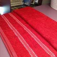 Бамбуковое бордовое полотенце для тела 70*140 см с полосами Турция (DM70140203DM)