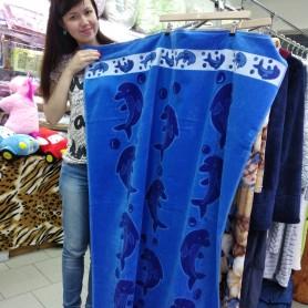 Большое пляжное синее полотенце Дельфины однотонное 100*150 см хлопок в сауну Турция (DM5090132DM)