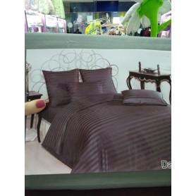 Постельное белье страйп-сатин темно-серое в полоску на молнии двуспальное (DM012113TT)
