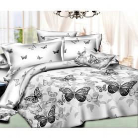 Постельное бельё двуспальное серое Бабочки 180*220 см хлопок ранфорс - двуспальный комплект (DM10149KR)