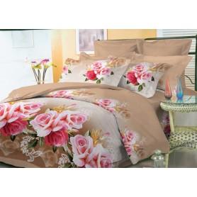 Постельное бельё полуторное 150*220 см бязь коричневое Розы (DM10821KR)