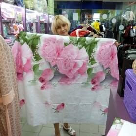 Постельное бельё полуторное белое розовые Розы 150*220 см хлопок ранфорс  (DM10850111KR)