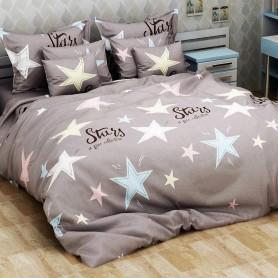 Постельное бельё семейное серое Stars Звезды ранфорс хлопок - семейный комплект (DM10994KR)