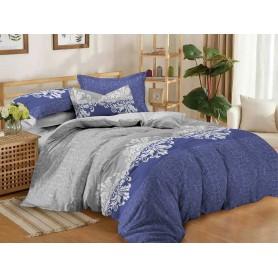 Постельное бельё двуспальное евро 200*220 сатин серое синее Изысканность - двуспальный евро комплект (DM11196KR)
