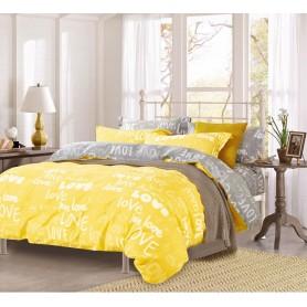 Постельное бельё семейное хлопок ранфорс желтое Любовь Love - семейный (DM11327KR)