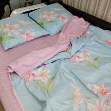 Постельное бельё двуспальное евро 200*220 евросатин Лилия розово голубой - двуспальный евро комплект (DM113781KR)