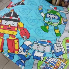 Постельное бельё детское голубое Super Car Роботы для младенцев 110*140 хлопок (DM21521KR)