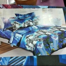 Детское постельное бельё полуторное синее 150*220 хлопок Трансформеры, Роботы (DM72511KR)