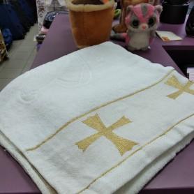Полотенце крыжма Золото на крестины махра хлопок 70 х 140 см Турция  (DM204514OZ)