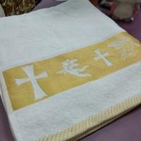 Полотенце крыжма Золотой рисунок на крестины махра хлопок 70 х 140 см Турция  (DM204515OZ)