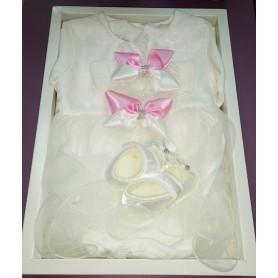 Набор одежды нарядный на крещение-крестины для девочки 0-6 мес  (DM22005332IT)